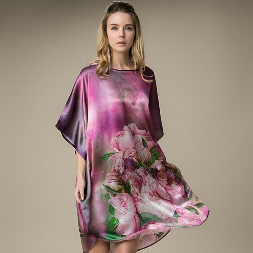 100% Mulberry  Long Silk Nightgowns For Women Silk Nightgown Women Real Silk sleepwear Ladies Female  Floral  Nightdress  Gift