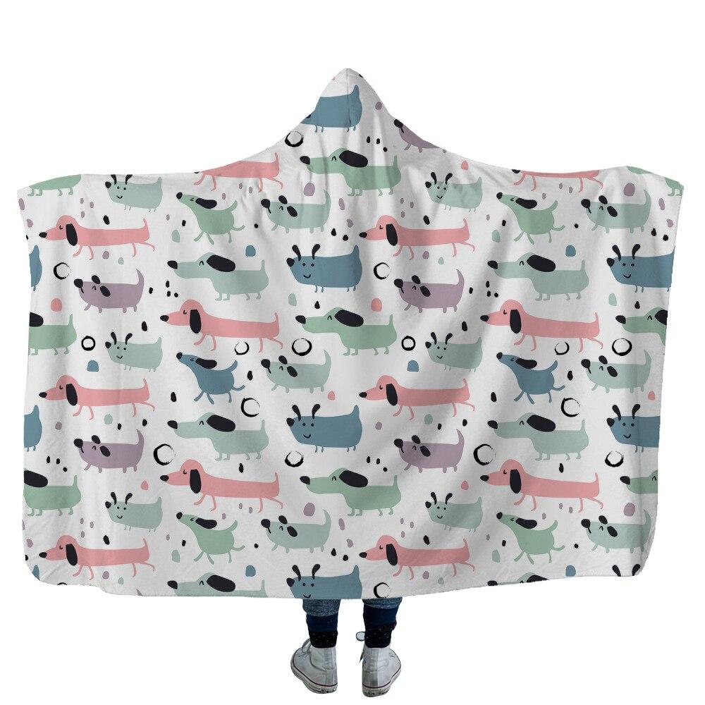 Dachshund-بطانية بغطاء للرأس مطبوعة ثلاثية الأبعاد ، مفرش سرير من الصوف الدافئ ، مكتب ، ناعم للبالغين ، سفر 08