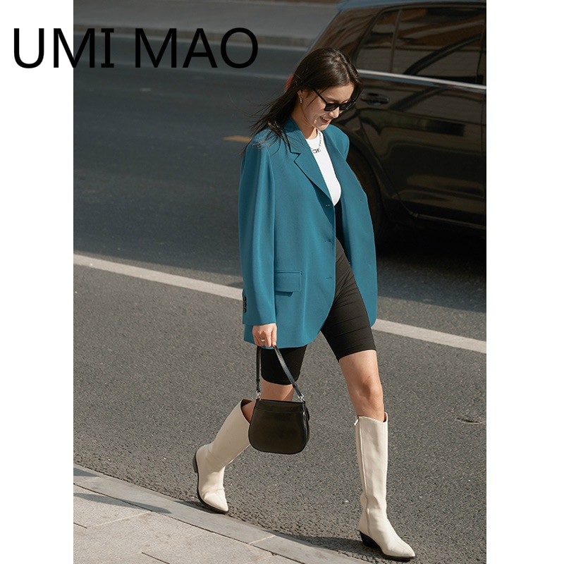 UMI ماو 2021 ربيع جديد النسخة الكورية من صافي معطف أحمر فضفاض مستقيم مزاجه ركاب دعوى سترة النساء