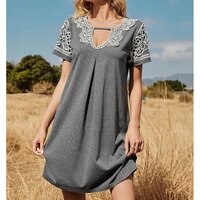 loose lace splice sexy v neck dress women sweet casual summer gray home short sleeve dresses