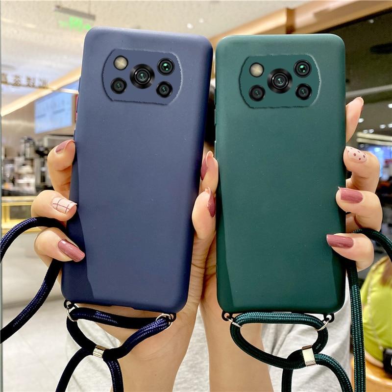 Candy Color Strap Lanyard Case On For Xiaomi Mi Poco X3 Nfc X2 F2 M2 Pro Pocophone F1 Silicone Soft