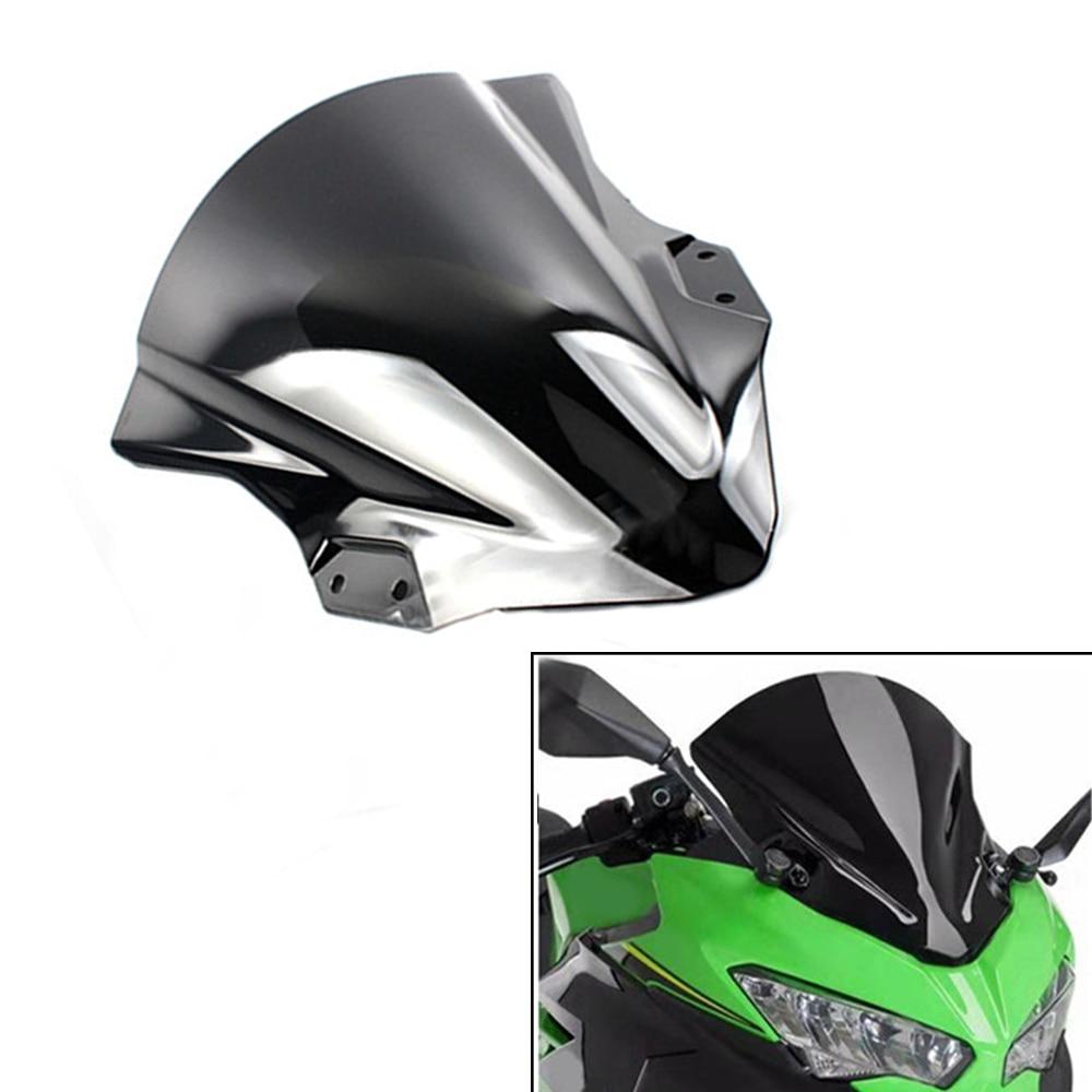 Pantalla deflectora de motocicleta con soporte parabrisas de doble burbuja para Kawasaki Ninja400 Ninja 400 2013 - 2018