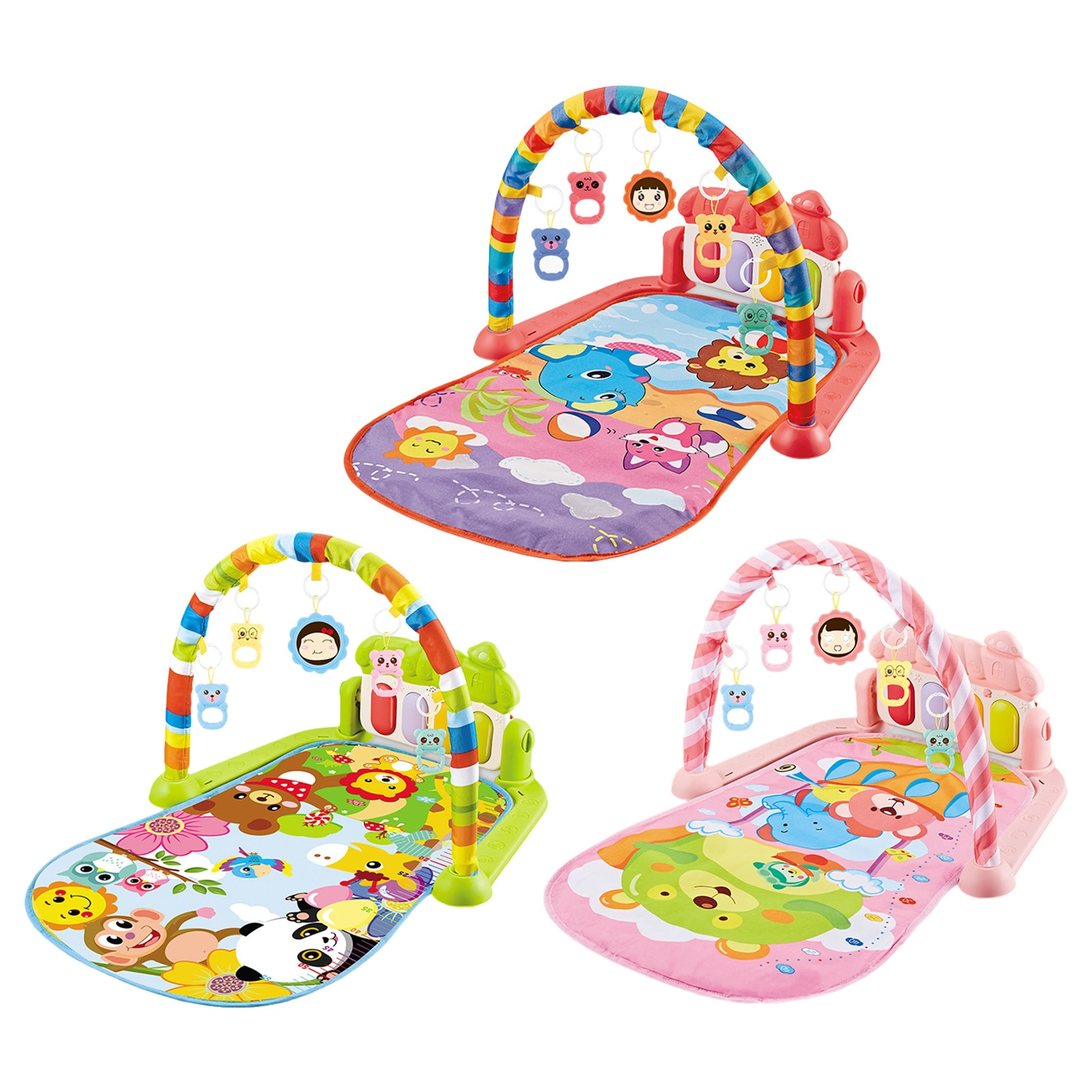 infant baby flying chess waterproof play mat early learning toy fitness bodybuilding frame crawling mat kick play lay sit toy Baby Play Mat Toy Rug Baby Pedal Piano Play Music Crawling Mat Play Piano Keyboard Infant Playmat Activity Gym With Hanging Toys