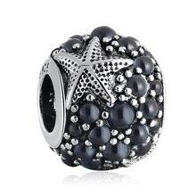 Authentique S925 étoile de mer perle breloque ajustement dame Bracelet Bracelet bijoux à bricoler soi-même bleu foncé