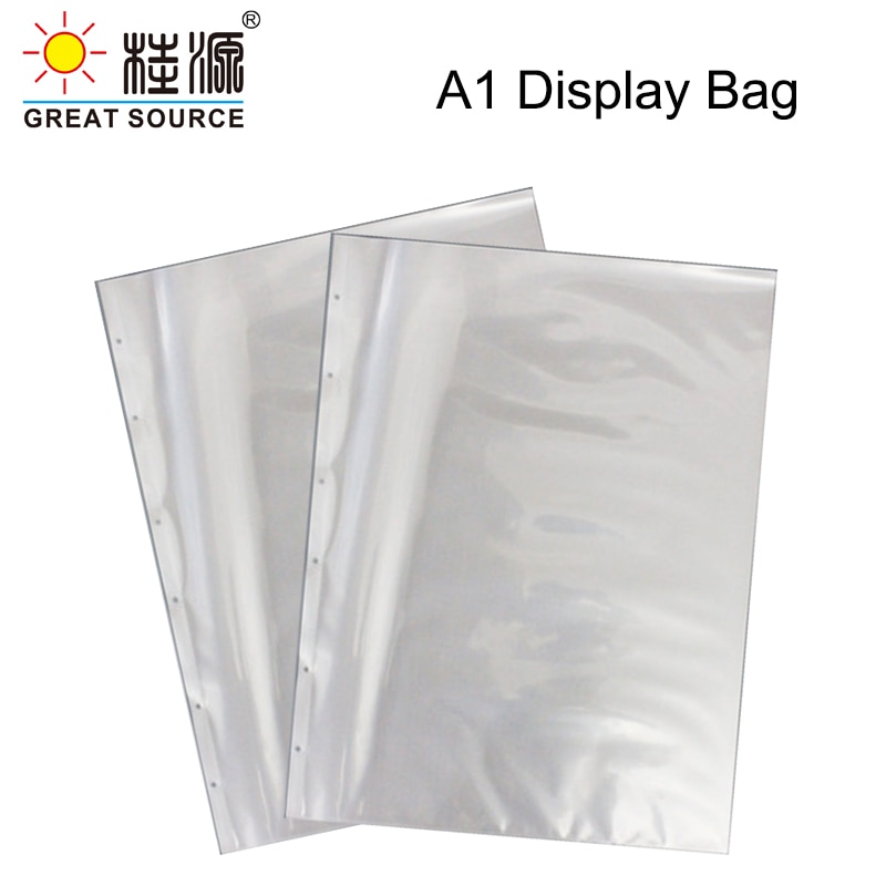 A1 Presentation Bag A1 Binder File Bag Poly-Punched Pocket 6 Holes For 4K Ring Binder Folder W610*H845mm(24.02''*33.27'') (10pcs)