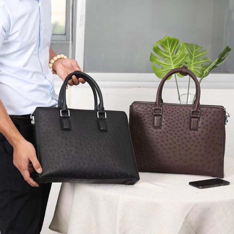 Difutouzi focus, maletín de cuero de avestruz de alta calidad para hombres, bolso comercial de cuero de avestruz, bolso de hombre negro y marrón