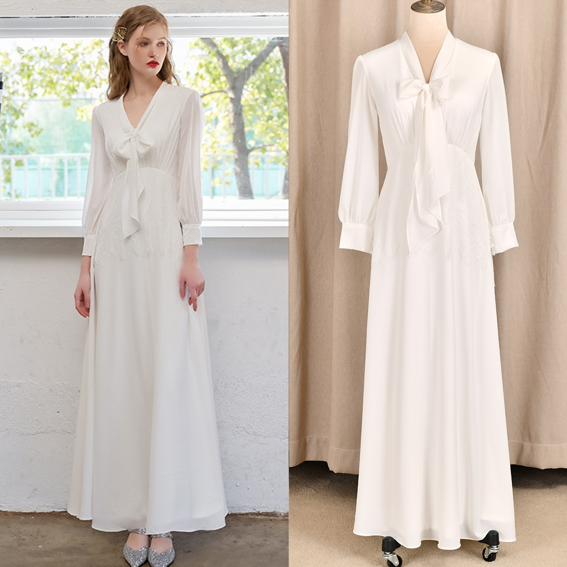 Promo Simple Chiffon Wedding Bridal Gown Ribbon Long Sleeve Lace 2021 A Line V Neck Formal Bridesmaid Engagement Toast Dress 4164#
