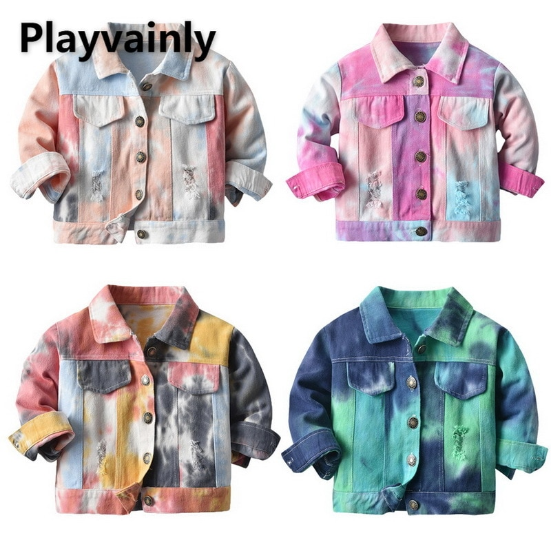 Girls Jackets Baby Girl denim Coats Korean multi-color tie-dye Casual Kids Jackets for Girls Kids Cl