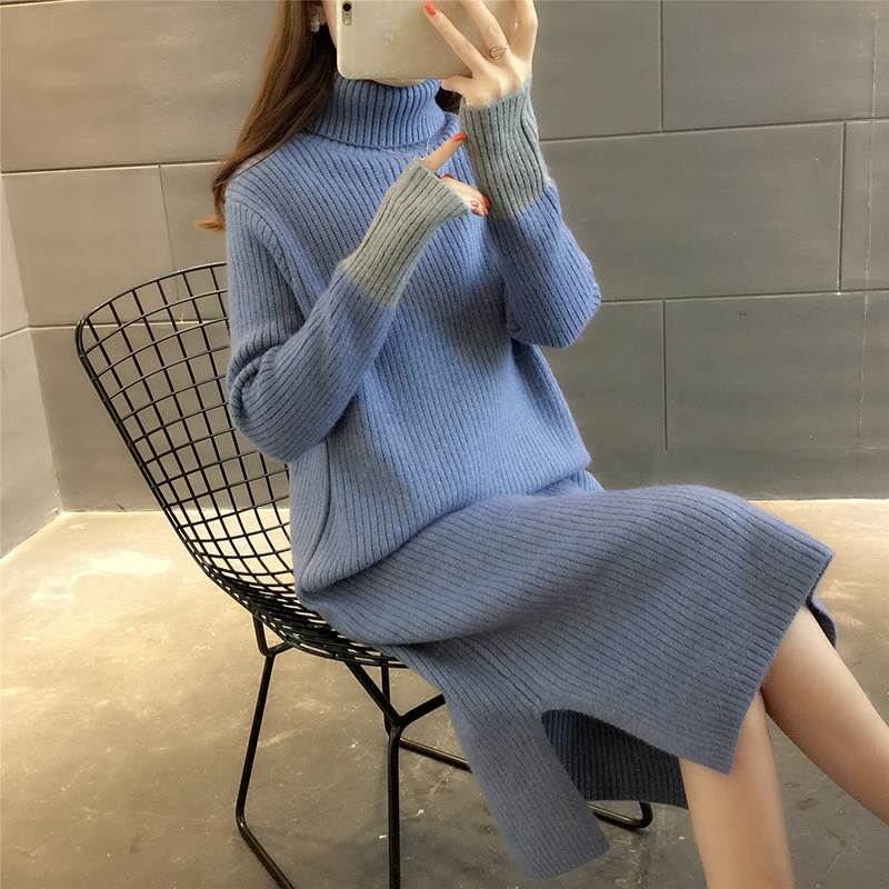Mid-length high-necked, over-the-knee sweater for women's new fall/winter 2019 loose solid long-sleeved knit base WSW166 enlarge