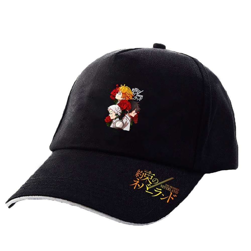 The Promised Neverland Cap Anime Cotton Unisex Sunshade Adjustable Sports Casual Black Pink Baseball Hat 2021 New Fashion