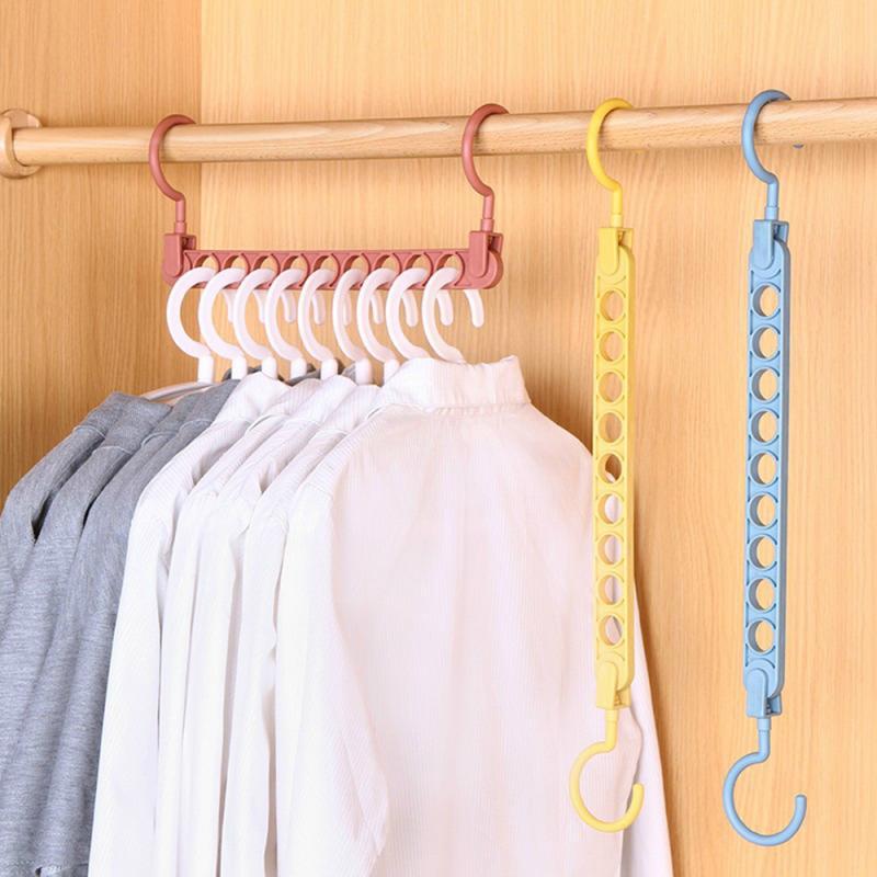 Hot Sale Multifunction Magic Clothes Hanger Practical Closet Clothes Organizer 3D Space Saving Space PP 9 Hole Magic Hangers