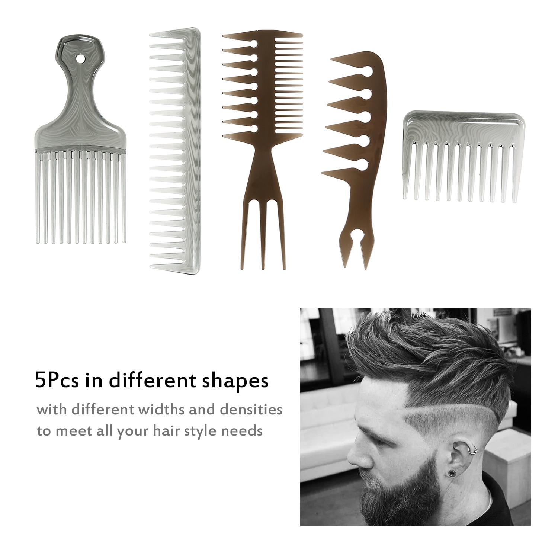 5 Pçs/set Garfo de Dentes Largos Pente Escova de Cabelo Escova De Cabelo Pente Grande Dente Óleo Homens Afro Salão de Cabeleireiro Escova Hair Styling Tools
