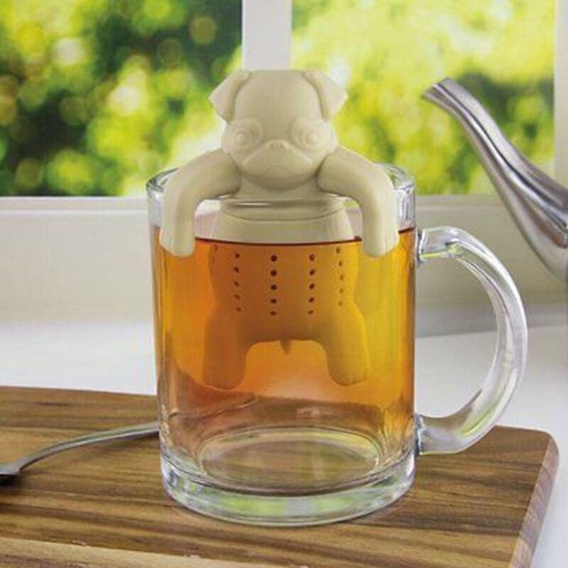 Lindo de silicona perro té filtro Infusor de té difusor Filtro de té reutilizable de té suelto de hierbas de hoja de herramienta tetera cocina herramienta