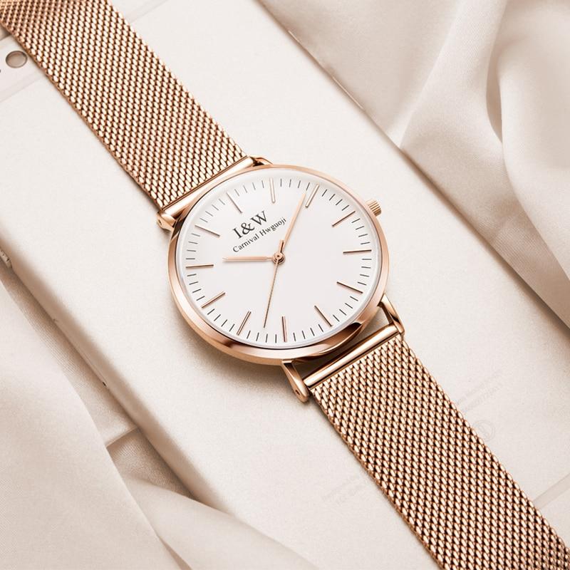 CARNIVAL Brand Women Fashion Watch Ladies Luxury Waterproof Ultra Thin Rose Gold Casual Quartz Wristwatch Clock Relogio Feminino enlarge