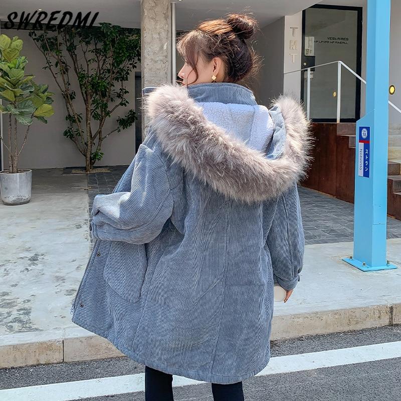 SWREDMI امبسوول معاطف طويلة دافئة ملابس الثلوج النساء 2021 جديد سماكة السترات عالية الشارع أبلى المتضخم سترات الإناث مقنعين