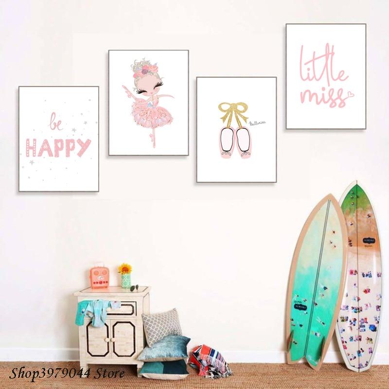 Детские парусиновые балетки для маленьких девочек; Розовые туфли с принтом; Художественная работа с цитатами; Парусиновая парусиновая плакат; Настенная картина для детской комнаты