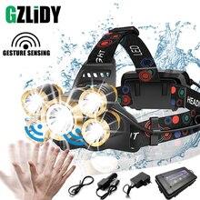 Powerful LED Headlamp Rechargeable Headlight Waterproof High Power Fishing Light Sensor Switch Zoom 18650 Lantern Camping Lamp