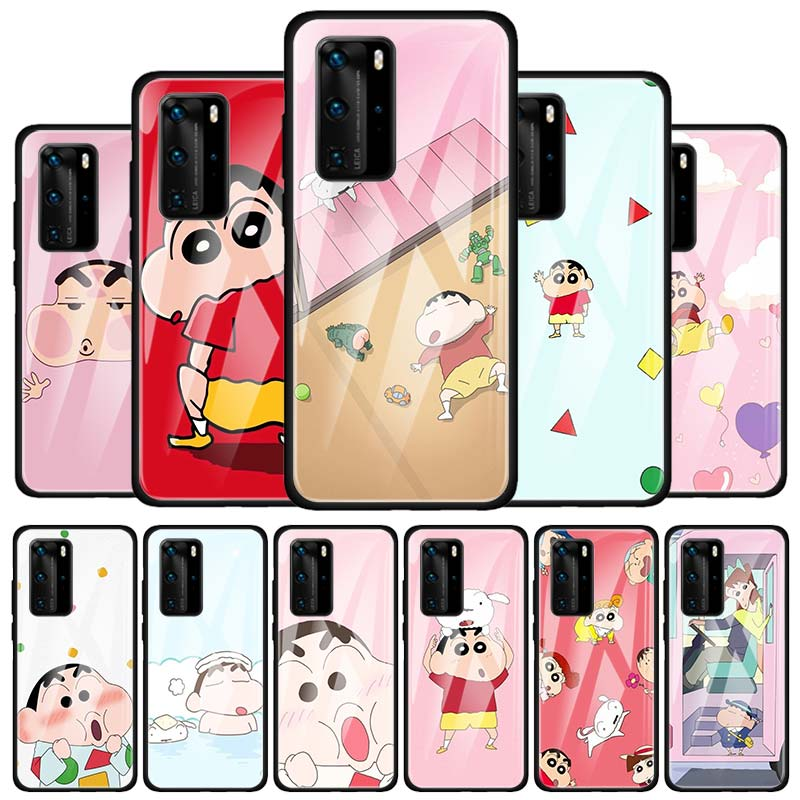 Funda de teléfono para Huawei P40 Lite E P20 Lite P30 Pro P Smart 2019 Nova 6 5T 5z 7i, funda de vidrio templado, crayón de dibujos animados Shin-chan