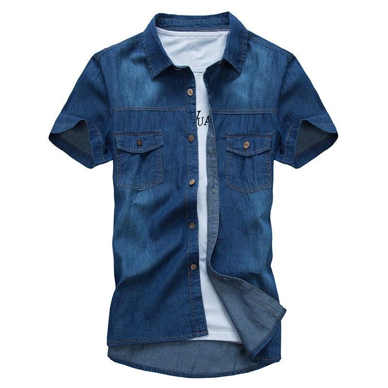 Рубашка мужская джинсовая приталенная хлопок короткий рукав отложной воротник