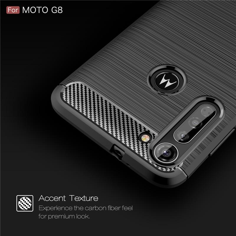 Para Motorola Moto G8 Plus funda de silicona suave TPU cepillado de fibra de carbono para Moto G8 Power Play One Macro Hyper