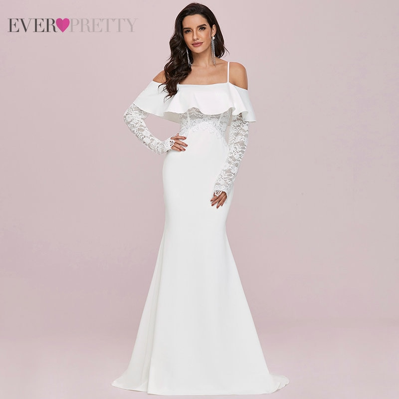 Wedding Dresses For Women Ever Pretty Mermaid Lace Ruffles Sweep Backless Long Sleeve Bridal Gowns Свадебное Платье 2021 EH00251