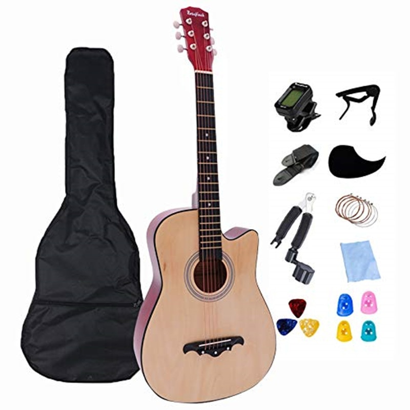 38 Inch Acoustic Guitar Folk Guitar for Beginners 6 Strings Basswood with Sets Black White Wood Brown Guitar AGT16A enlarge