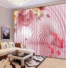Rideaux 3D de fleur rose incurvée stéréo pour le salon chambre rideaux de salle de mariage taille personnalisée rideau décoratif