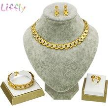 African Bridal Jewelry Sets Women Fashion Jewelry Necklace Earrings Ring Bracelet Dubai Bridal Wedding Crystal Gift Jewelry Set
