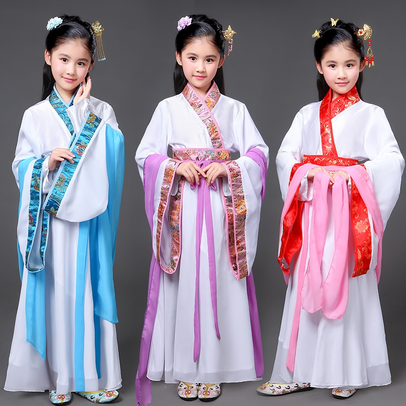 Children's Chinese style, Hanfu costume, new style, classical performance, costume, girl performance, stage performance недорого