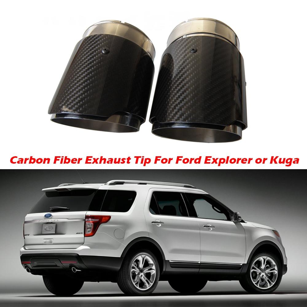 2PCS Carbon Fiber Exhaust Tip For Ford Explorer Kuga Escape Carbon Fiber Muffler Tips Car Exhaust Pipes AK Logo