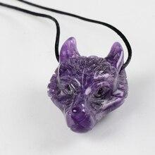 Pendentif loup améthyste en pierre naturelle   Mini Figurine danimal sculptée à la main, pendentifs en Chakra, pierres précieuses de guérison, bijoux de charme Reiki