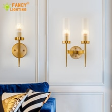 (Bombilla LED E14 gratis) Lámpara de pared nórdica, lámpara de pared Led para escaleras, luz de pared para el Hogar, baño, dormitorio, luz de cristal, lámpara de pared