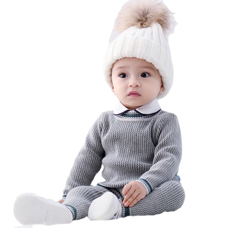 Infant Toddler Clothing Sweater Pants Sets Baby Boys Outfits Autumn Winter Knit Clothes Neonate Pullovers Trousers Sets for Kids