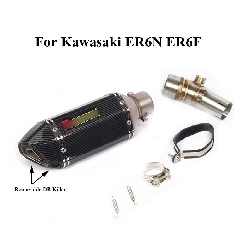 For Kawasaki ER6N ER6F 2012-2016 Motorcycle Exhaust Tip Muffler Connecting Tube Pipe Slip on ER6N ER6F