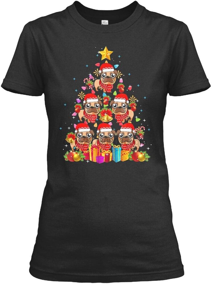 Camiseta para hombre Pug luces de Navidad árbol camiseta Navidad G camiseta para mujer