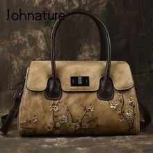 Johnature Retro Handmade Embossing Genuine Leather Luxury Handbags Women Bags 2020 New Leisure Totes Cowhide Shoulder Bags