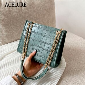 Alligator PU Leather Shoulder Bags for Women Fashion Solid Color Metal Chain Chain Crossbody Bags Female High Capacity Handbags