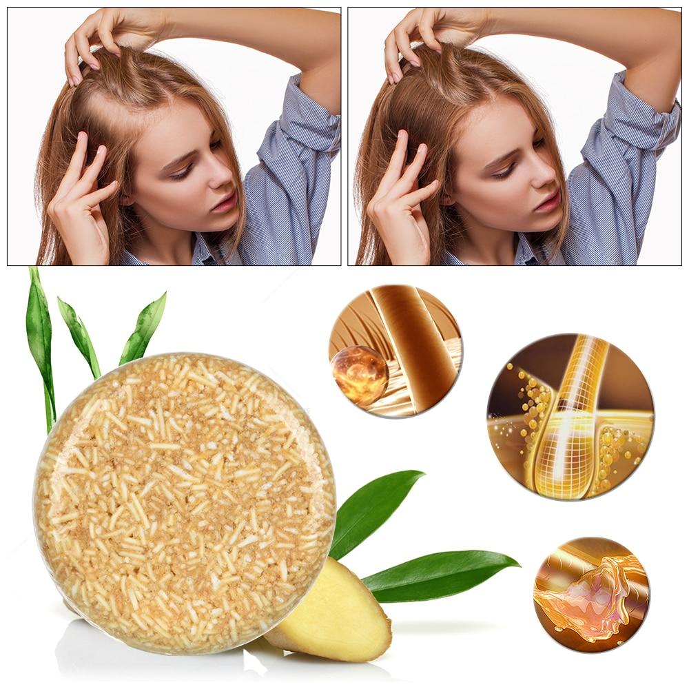 Barra sólida do champô do espessamento do gengibre para o crescimento cuidados capilares anti queda barra de sabão liso e restaurar o tratamento denso do cabelo da lavagem
