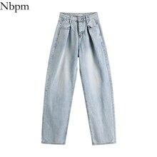 Nbpm Women 2021 Chic Fashion With Belt Vintage High Waist Jeans Wash Wide Leg Denim Pants Tide Woman