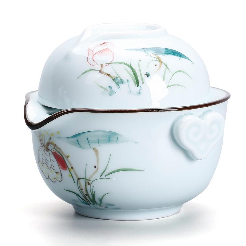طقم شاي الكونغ فو الصيني ، إبريق شاي سيراميك محمول ، للسفر في الهواء الطلق ، أكواب شاي Gaiwan ، كوب شاي ، هدية رائعة ، أطقم شاي