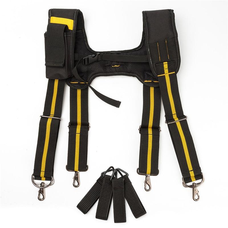 H-diseño de tipo de trabajo pesado cinturón tirantes con 4 bucles para reducir cintura peso bolsa de herramientas