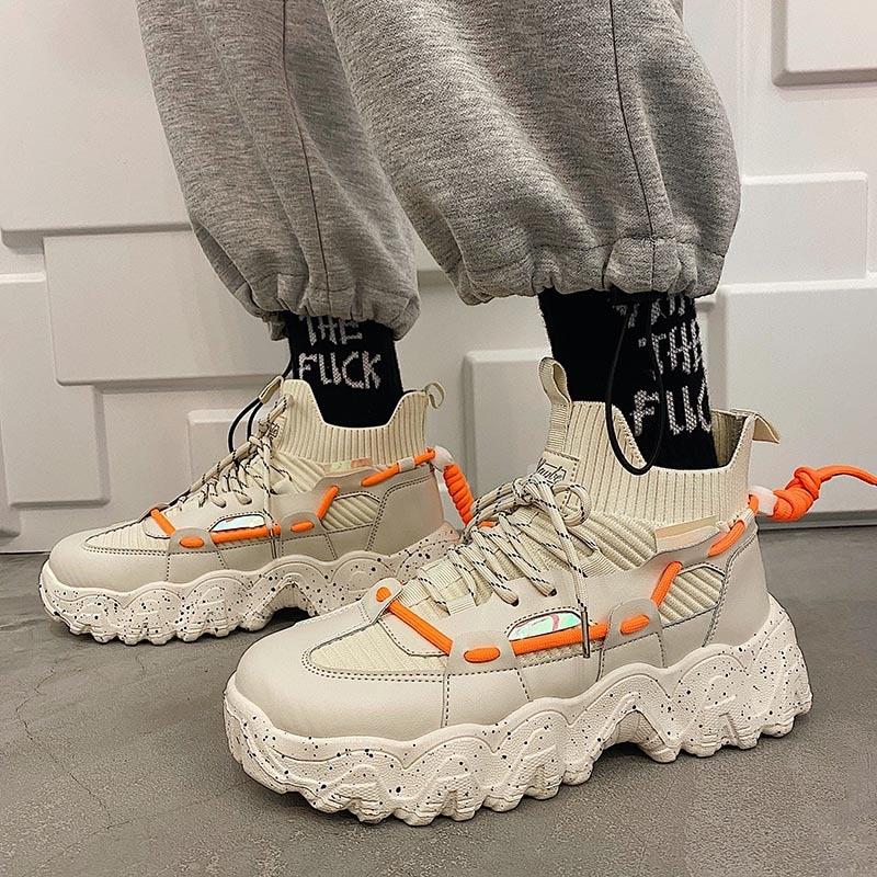 حذاء رجالي الحياكة جورب أحذية رياضية الرجال الربيع الصيف تنفس جورب أحذية غير رسمية موضة المدربين مكتنزة أحذية مشي رجالي