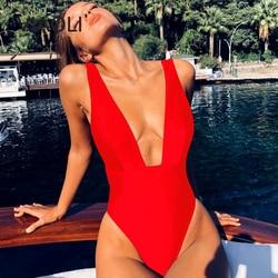 Maiô sexy em 6 cores de uma peça, decote profundo em v, moda praia, feminino, bodysuit para nadar desgaste vermelho amarelo