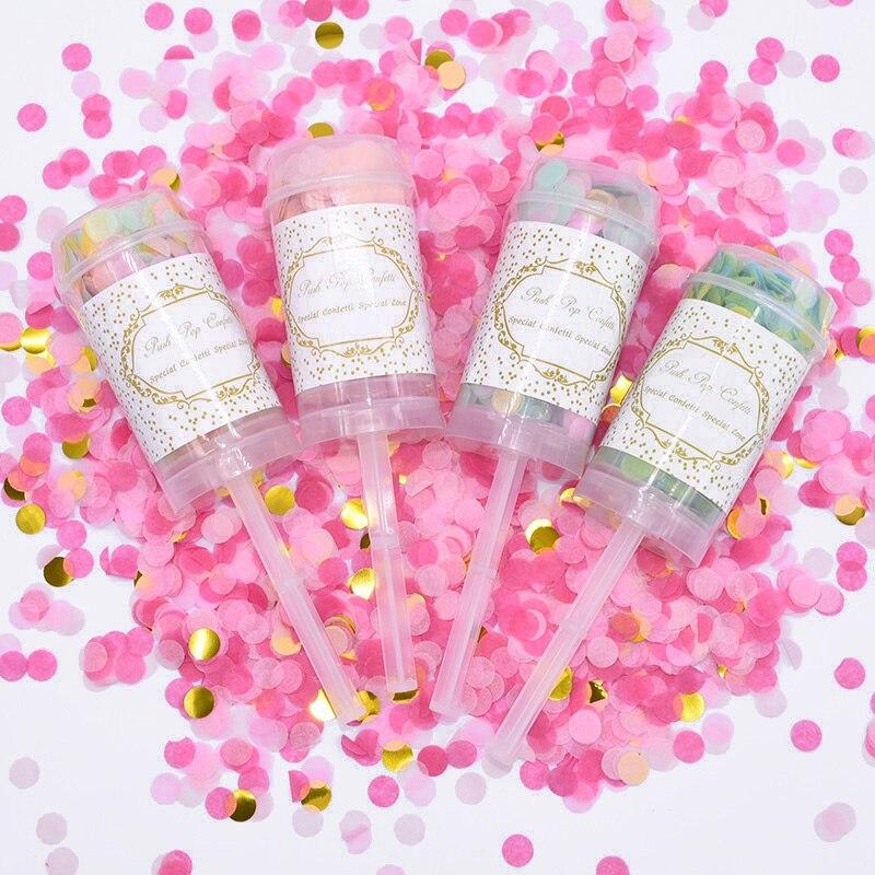 1/3/5pcs Confetti Push Poppers Colorful Wedding Bridal Shower Push Pop Confetti Celebration Party Birthday Baby Shower Supplies