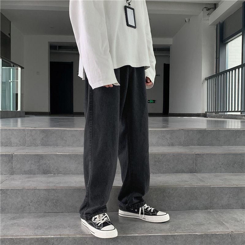Wide Leg Jeans Men's Fashion Retro Baggy Drawstring Jeans Men Streetwear Loose Hip-hop Straight-leg Denim Trousers Mens M-2XL