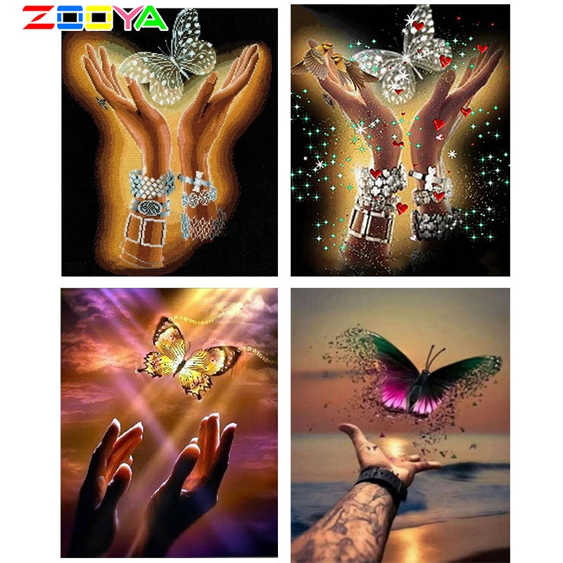 ZOOYA Diamond Full Round Embroidery Butterfly In Hands Diamond Painting Diamonds Embroidery Mosaic Painting Home Decor R17872