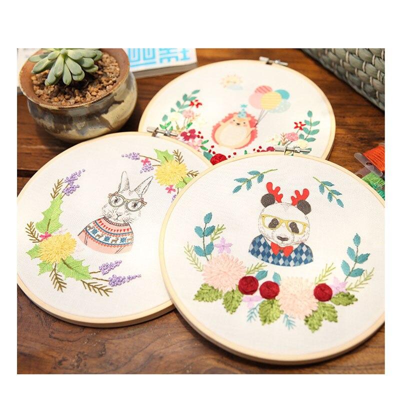 1 Juego de animales de dibujos animados bordado L con marco DIY Kit hecho a mano suministros de costura artesanal decoración del hogar regalo de cumpleaños de la boda