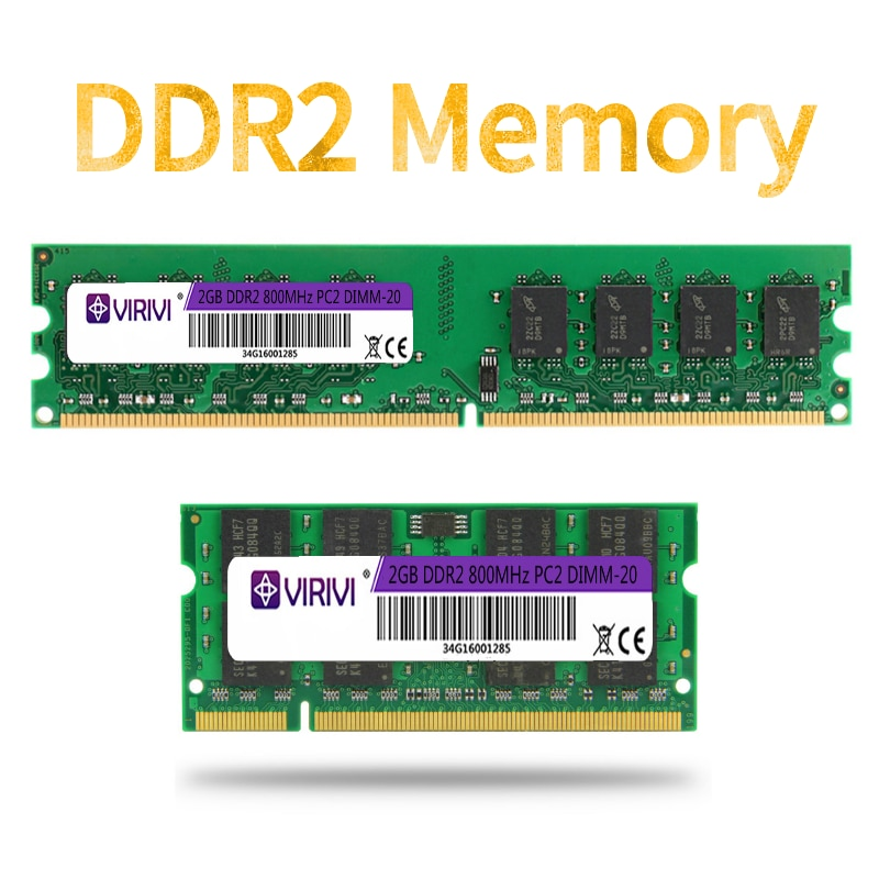 DDR2 2GB 667/800MHz PC2-6400S Desktop Laptop PC RAMs 240-Pin 1.8V DIMM For Intel and AMD Compatible Computer Memory Warranty