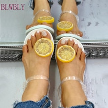 Sandales femme mode chaussures femme sangle transparente sandales femmes motif citron sandales plates chaussures de plage diapositives terlik