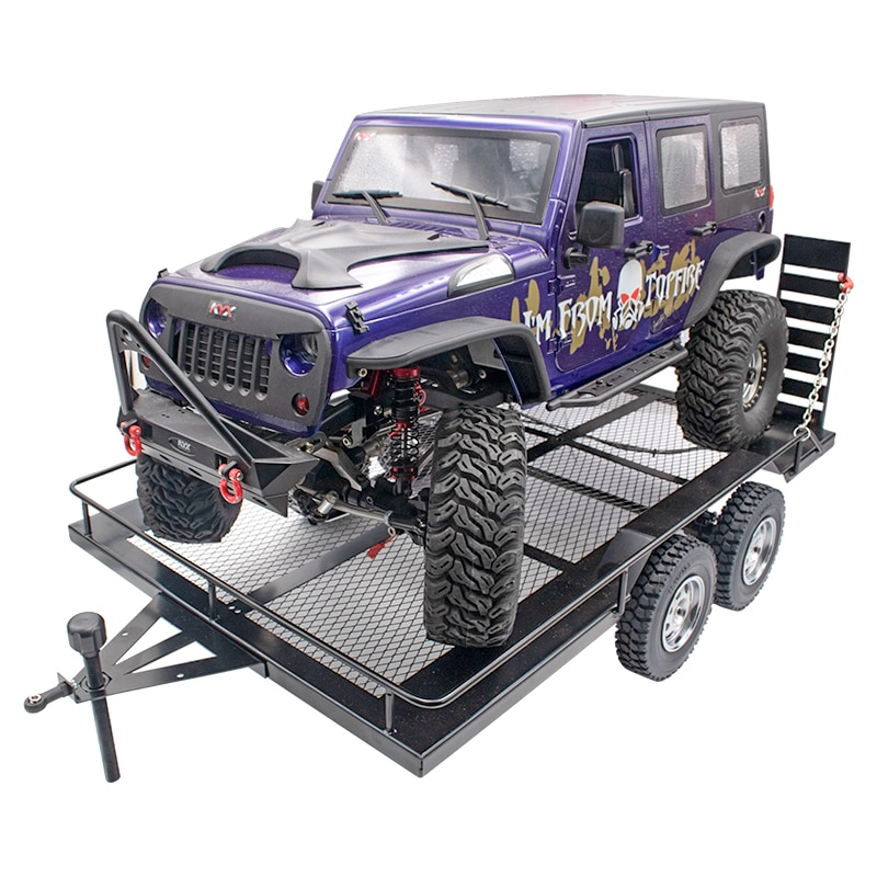 1set All metal Dual axis flatbed truck trailer With lights &lamp line For 1/8 1/10 RC Crawler Car KM2 SCX10 TRX4 TRX6 D90 D110 enlarge